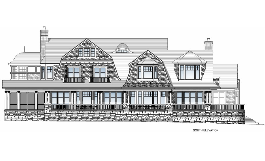 Michael Preston Design 1000 Islands Residence south elevation